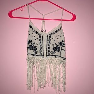 White/Navy Blue Floral Fringe Tank Top Hollister S